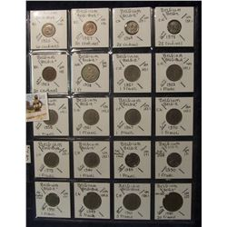 603. (20) Belgium Coins in a Plastic Page, all identified with KM no. value, mintage, medal, & etc.