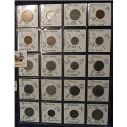 604. (20) World Coins in a Plastic Page, all identified with KM no. value, mintage, medal, & etc. In