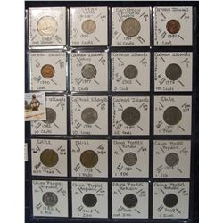 605. (20) World Coins in a Plastic Page, all identified with KM no. value, mintage, medal, & etc. In