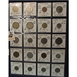 606. (20) World Coins in a Plastic Page, all identified with KM no. value, mintage, medal, & etc. In