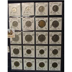 610. (20) 1940-80 French Coins in a Plastic Page, all identified with KM no. value, mintage, medal,