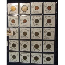 611. (20) France & Germany World Coins in a Plastic Page, all identified with KM no. value, mintage,