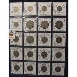 613. (20) Great Britain Coins in a Plastic Page, all identified with KM no. value, mintage, medal, &