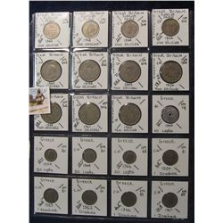 614. (20) World Coins in a Plastic Page, all identified with KM no. value, mintage, medal, & etc. In