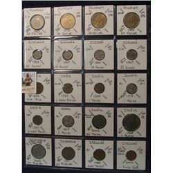 617. (20) World Coins in a Plastic Page, all identified with KM no. value, mintage, medal, & etc. In