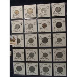 618. (20) World Coins in a Plastic Page, all identified with KM no. value, mintage, medal, & etc. In
