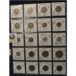 620. (20) World Coins in a Plastic Page, all identified with KM no. value, mintage, medal, & etc. In