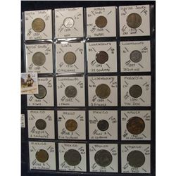 621. (20) World Coins in a Plastic Page, all identified with KM no. value, mintage, medal, & etc. In