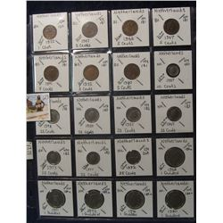 623. (20) Netherlands Coins in a Plastic Page, all identified with KM no. value, mintage, medal, & e