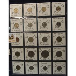 626. (20) Philippines Island Coins in a Plastic Page, all identified with KM no. value, mintage, med