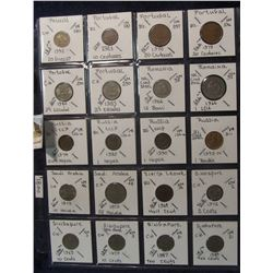 627. (20) World Coins in a Plastic Page, all identified with KM no. value, mintage, medal, & etc. In