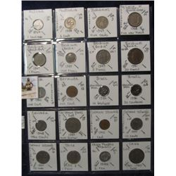 632. (20) World Coins in a Plastic Page, all identified with KM no. value, mintage, medal, & etc. In