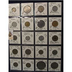 635. (20) World Coins in a Plastic Page, all identified with KM no. value, mintage, medal, & etc. In