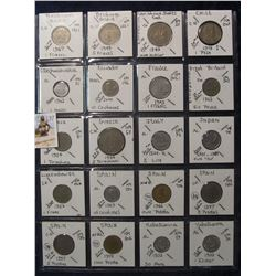 637. (20) World Coins in a Plastic Page, all identified with KM no. value, mintage, medal, & etc. In