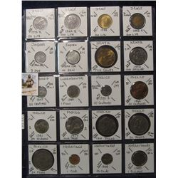 641. (20) World Coins in a Plastic Page, all identified with KM no. value, mintage, medal, & etc. In