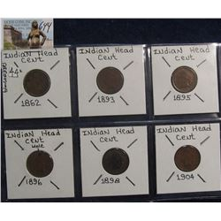 644. 1862, 1893, 1895, 1896, 1898, & 1904 Indian Head Cents. Red Book value $14.00.