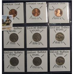 645. 2015 P, D Gem BU & S Proof Lincoln Cents; 1936 P, D, & S, 1937 P, D, & S Buffalo Nickels. Red B