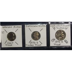 647. 1957 P Proof, & 1976 S Proof  Jefferson Nickel and 1976 S Bicentennial Quarter Proof. Red Book