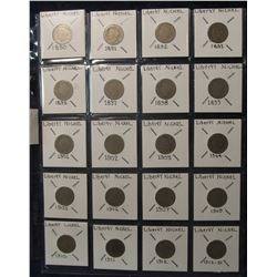 "652. (8) 1800 era & (12) 1900 era U.S. Liberty ""V"" Nickels. Red book value $53.00."
