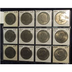 654. Partial Set of Eisenhower Dollars all different. EF-BU. (12 pcs.).