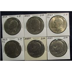 656. Partial Set of Eisenhower Dollars all different. EF-BU. (6 pcs.).