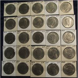 "657. Group of Eisenhower Dollars in 2"" x 2"" cardboard holders. EF-BU. (25 pcs.)."