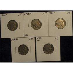 "663. 1920 P, 24 P, 26 P, 36 D, & 37 P Buffalo Nickels all in 2"" x 2"" coin holders."
