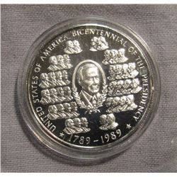 "669. 1789-1989 ""United States of America Bicentennial of the Presidency"" 1 Ounce .999 Fine Silver. E"