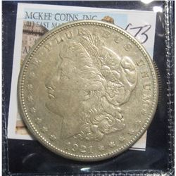 673. 1921 S U.S. Morgan Silver Dollar. VF 20.