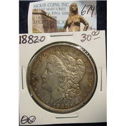 674. 1882 O U.S. Morgan Silver Dollar. VF-EF. Natural toning.