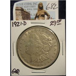 682. 1921 D U.S. Morgan Silver Dollar. VF 20.