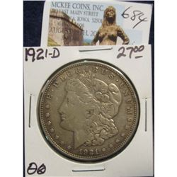 684. 1921 D U.S. Morgan Silver Dollar. VF 20.
