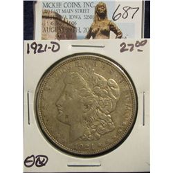 687. 1921 D U.S. Morgan Silver Dollar. VF 20.