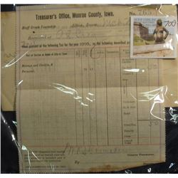 "700. World War I era March 23, 1917 ""Treasurer's Office, Monroe County, Iowa"" Tax Receipt signed by"