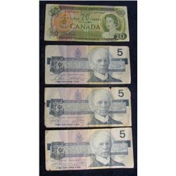 728. (3) 1986 $5 & (1) 1969 $20 Canada Bank Notes. VG-VF.