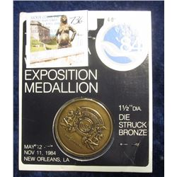 736. 1984 Louisiana World's Fair Exposition Medallion, in the original packaging