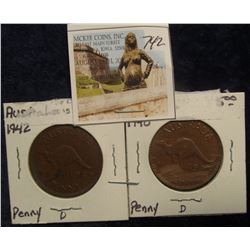 742. 1942 & 43 Australia Large Pennies. EF 40.
