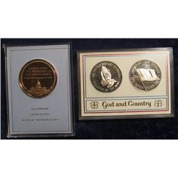 "747. (3) Franklin Mint Medals – 1989 Bush Inauguration and a 2 Coin ""God & Country"" medal set, all i"