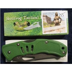 "755. ""Bullfrog Tactical II"" by Frost Cutlery Folding Pocket Knife.# 16-088G. 4"" Closed Lightweight L"