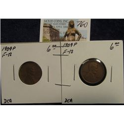 760. (2) 1909 P Lincoln Cents. F-12. Red Book Value $12.00.