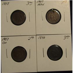 762. (4) Indian Cents dating back to 1890. One is holed.