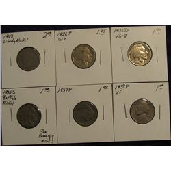 763. 1902, 1926 P, 1935 D, 1935 S, 1937 P, & 39 P U.S. Nickels. All in holders and priced.