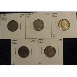 764. 1902, 1937 P VF, 42 P Silver, 44 P Silver, & 44 D Silver U.S. Nickels.  All in holders and pric