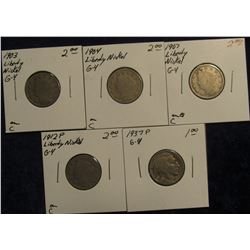 765. 1903, 04, 07, & 1912 P Liberty Nickels & 1937 P Buffalo Nickels. All in holders and priced.