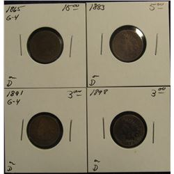 766. 1865, 1883, 1891, & 1898 Indian Head Cents.  All in holders and priced.