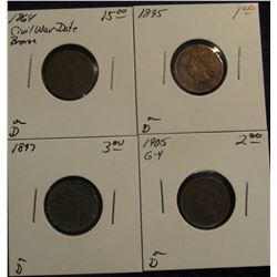 767. 1864, 1895, 1897, & 1905 Indian Head Cents.  All in holders and priced.