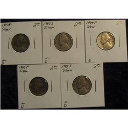 769. 1943 P, 43 S, 44 P, 45 P, & 45 S U.S. Silver War Nickels. All carded and priced.