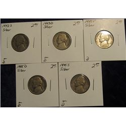 770. 1942 S, 43 D, 45 P, 45 D, & 45 S U.S. Silver War Nickels. All carded and priced.
