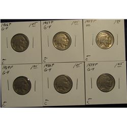 771. 1926 P, 27 P, 28 P, 29 P, 30 P & 434 P. Buffalo Nickels. All Carded amd Priced.
