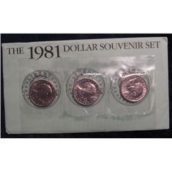 774. 1981 P, D & S Susan B. Anthony Dollar Sets, as Isued by the US Mint.